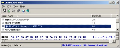 LSASecretsView 1.25 screenshot