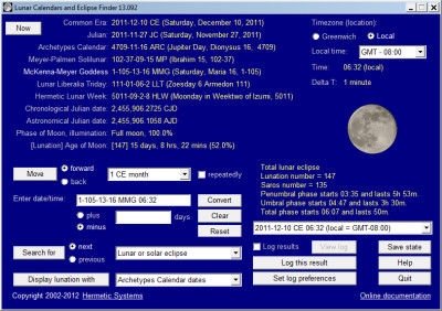 Lunar Calendars and Eclipse Finder 16.36 screenshot