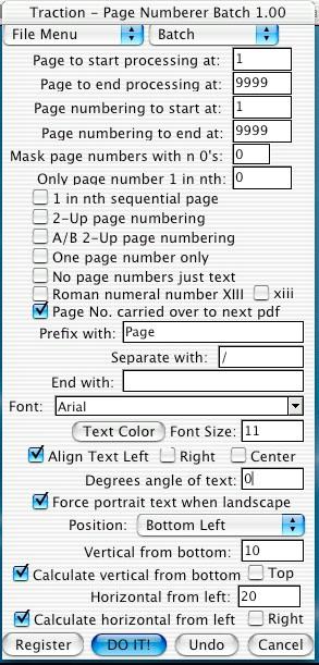 Mac PDF Page Numberer Batch 1.00 screenshot
