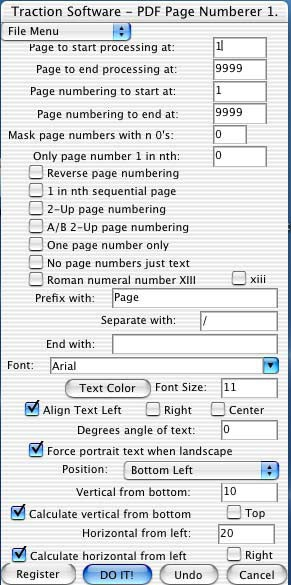 Mac PDF Page Numberer 1.04 screenshot