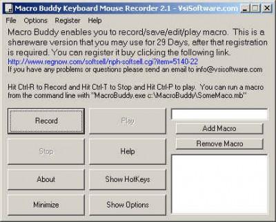 Macro Keyboard Mouse Recorder Wizard 2.1 screenshot