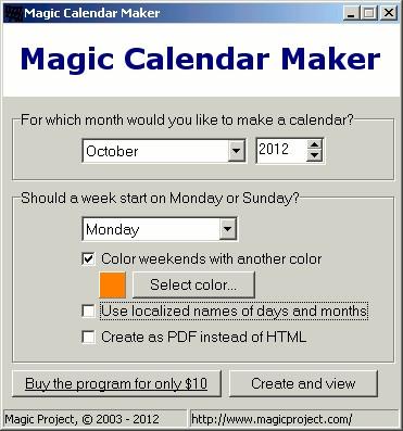 Magic Calendar Maker 3.5 screenshot