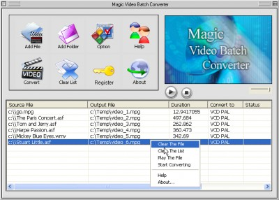 Magic video batch converter 3.5.1 screenshot