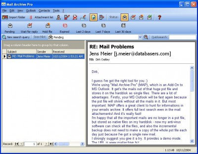 Mail Archive Pro 1.6 screenshot
