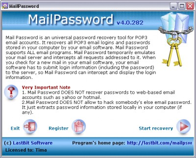 Mail Password 4.0.282 screenshot