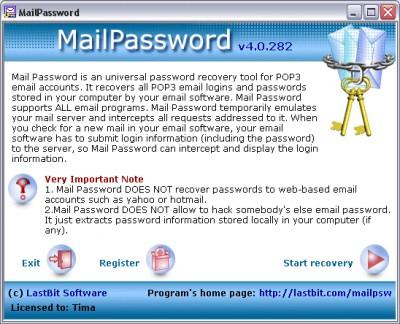 Mail Password 4.0.282 screenshot