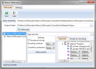 Manco .NET Obfuscator 4.5.4 screenshot