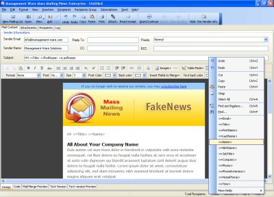 Mass Mailing News Personal Edition 1.1.0.4 screenshot