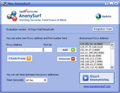 Max AnonySurf 1.9 screenshot