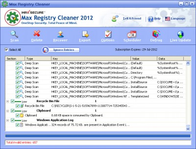 Max Registry Cleaner 2012 6.0.0.048 screenshot