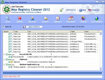 Max Registry Cleaner 2012 6.0.0.048 screenshot