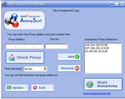 Max Secure AnonySurf 1.2 screenshot
