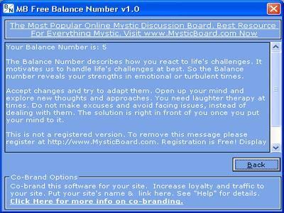 MB Free Balance Number 1.50 screenshot