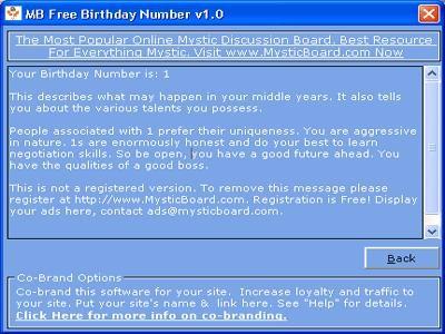 MB Free Birthday Number 1.25 screenshot