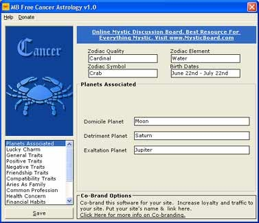 MB Free Cancer Astrology 1.10 screenshot