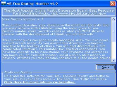 MB Free Destiny Number 1.25 screenshot