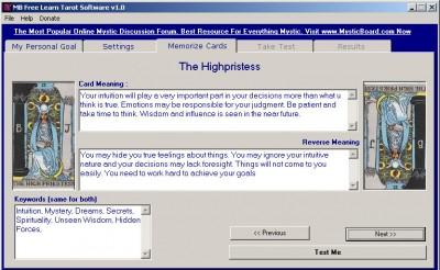 MB Free Learn Tarot Software 1.75 screenshot