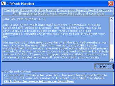 MB Free Life Path Number 1.25 screenshot