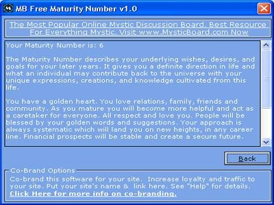 MB Free Maturity Number 1.25 screenshot