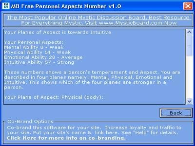 MB Free Personal Aspects Number 1.25 screenshot