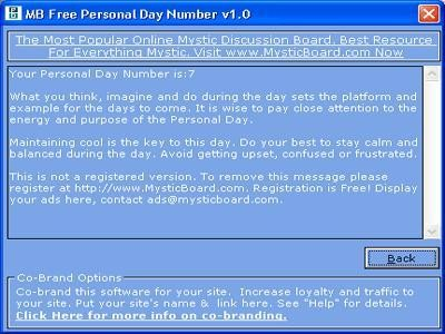 MB Free Personal Day Number 1.25 screenshot