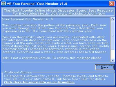 MB Free Personal Year Number 1.25 screenshot