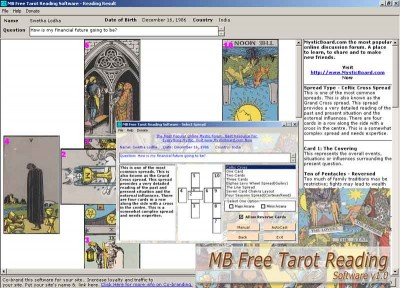 MB Free Tarot Reading Software 1.25 screenshot