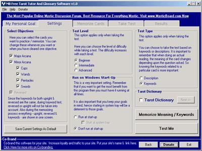 MB Free Tarot Tutor And Glossary 1.10 screenshot