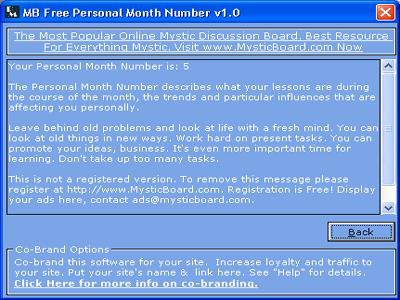 MB Personal Month Number 1.75 screenshot