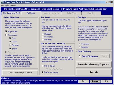 MB Tarot Reader And Tutor Software 1.55 screenshot