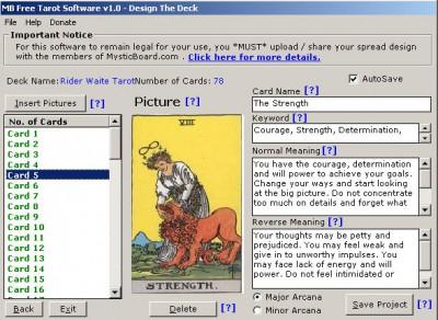 MB Tarot Software 1.85 screenshot