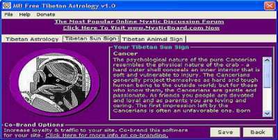 MB Tibetan Astrology 2.05 screenshot
