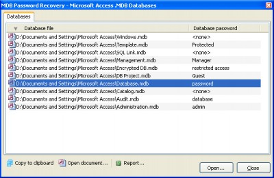 MDB Password Recovery 1.0.2 screenshot