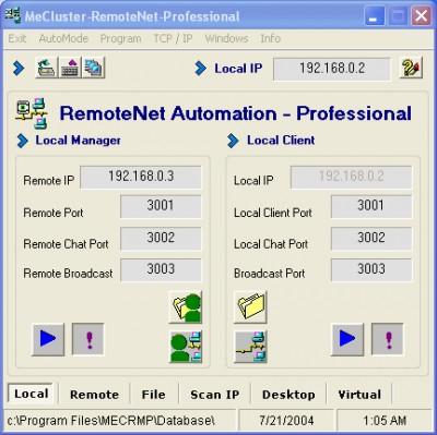 ME Cluster - RemoteNet - Professional 9.1 screenshot