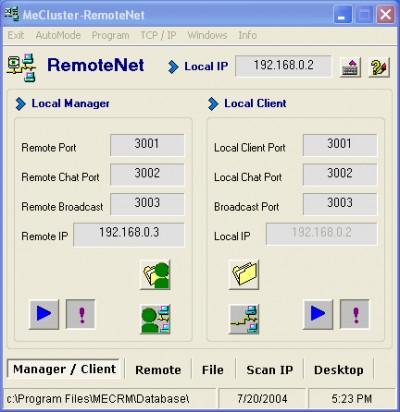 ME Cluster RemoteNet 9.1 screenshot