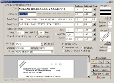 MemDB Check Printing System 1.0 screenshot