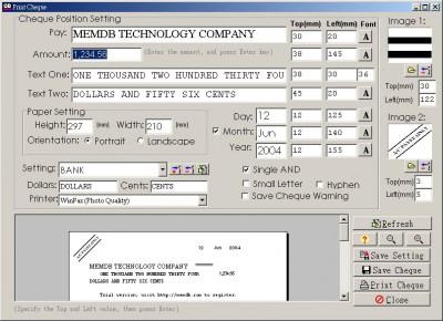 MemDB Cheque Printing System 1.1 screenshot