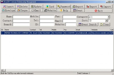 MemDB Customer Relationship Management 1.0 screenshot