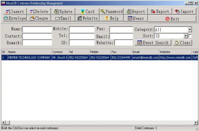 MemDB Customer Relationship Management 1.0 screenshot
