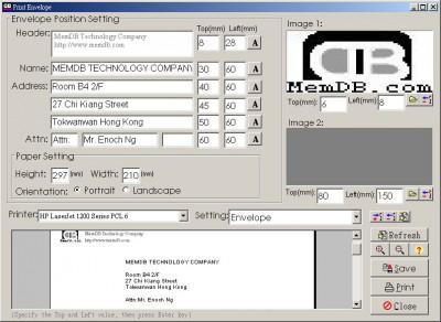 MemDB Envelope Printing System 1.1 screenshot