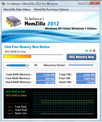 MemZilla 2012A screenshot