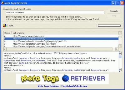 Meta Tags Retriever 1.12 screenshot