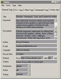 Metty Meta Tag Maker 1.31 screenshot