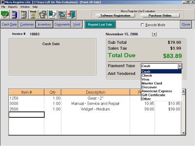 Micro Register Lite Point-Of-Sale System 5.5 screenshot