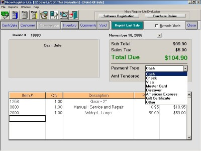 Micro Register Point-Of-Sale System 5.5 screenshot