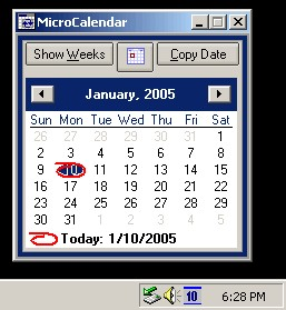 MicroCalendar - Windows Tray Calendar 1.3.2.9 screenshot