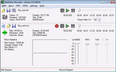 Midi2Wav Recorder 4.101 screenshot