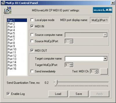 MIDIoverLAN CP 2.2 screenshot