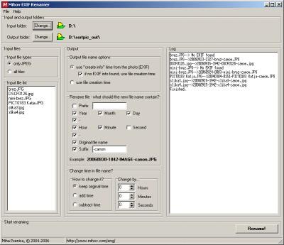 Mihov EXIF Renamer 3.0 screenshot