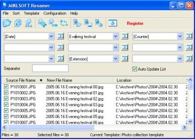 MIKLSOFT Renamer 1.65 screenshot